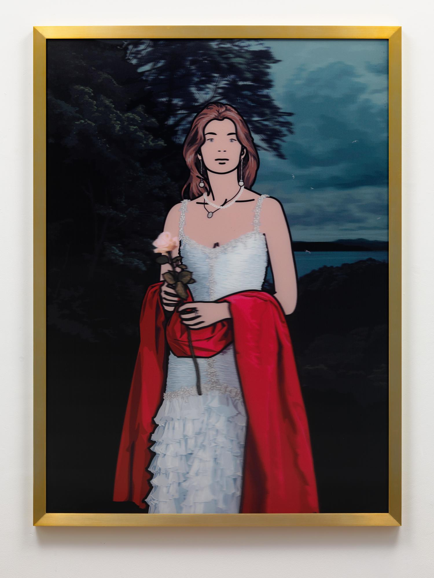 Julian Opie. Maria Teresa with red shawl. 2008. Acrylic (Lenticular) in aluminium frames